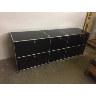 usm haller sideboard schwarz 50 cm tief mit klappen. Black Bedroom Furniture Sets. Home Design Ideas
